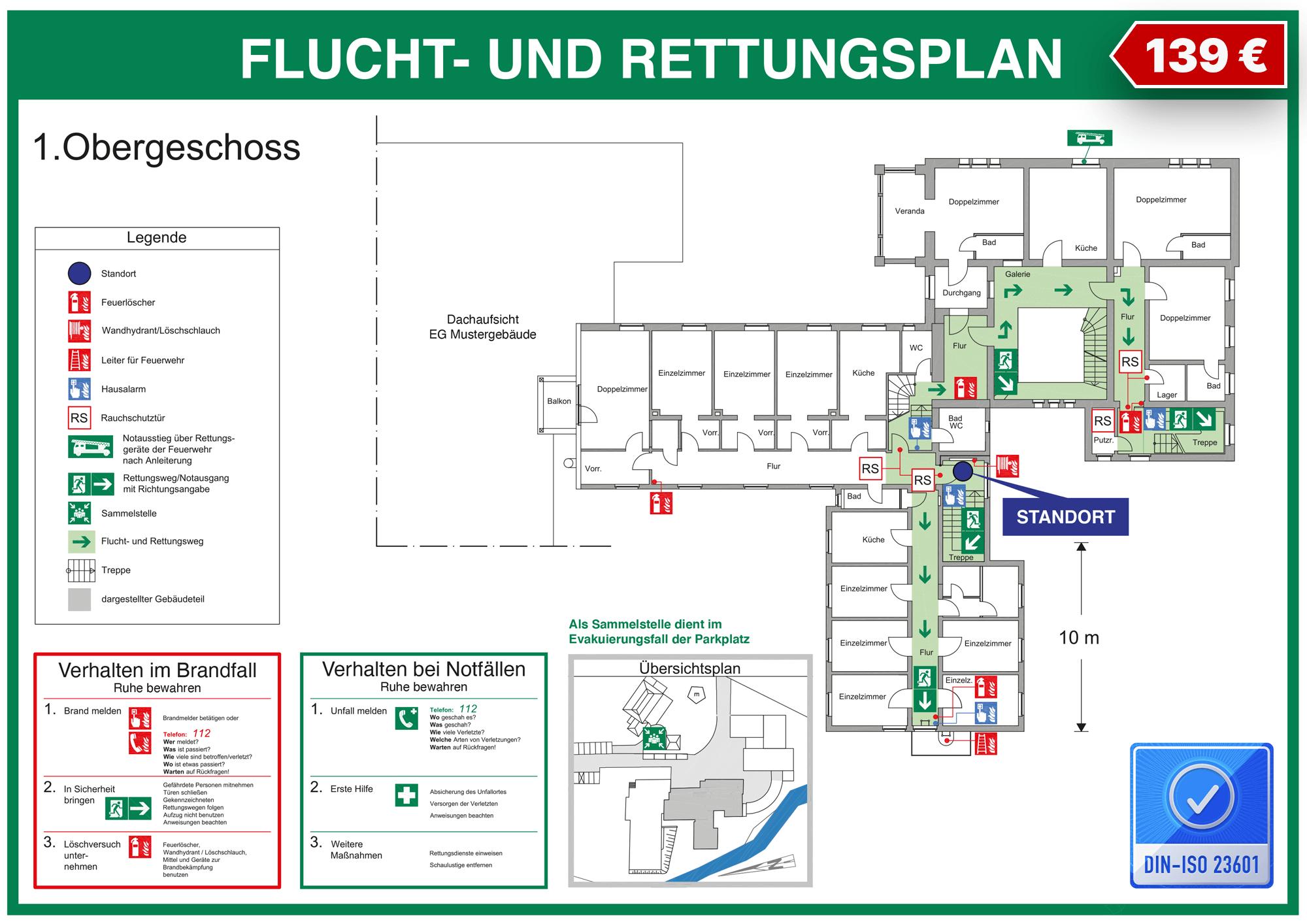 Fluchtplanmuster DIN ISO 23601